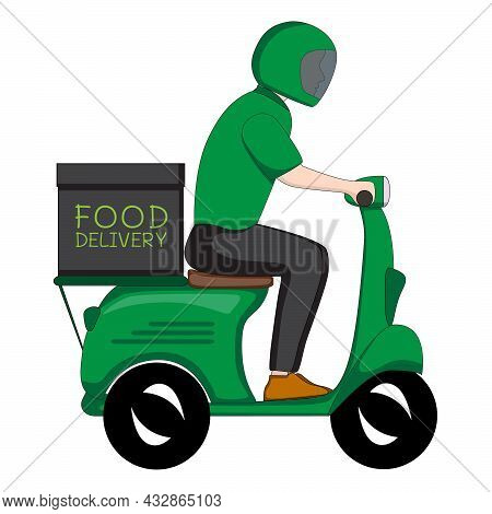 Delivery Man Courier In Green Uniform Riding A Motorcycle. Service Deliver Food And Beverages Ready