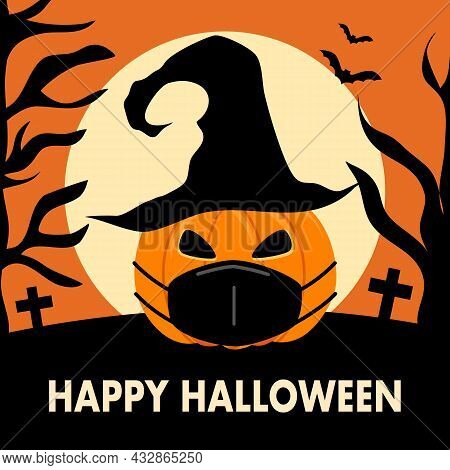 Pumpkin Wearing Medical Mask With Bats And The Moon In Flat Design. Happy Halloween Festival In Covi