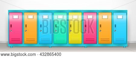 Steel Lockers With Colored Closed Doors In School Corridor Or Changing Room In Gym. Vector Realistic