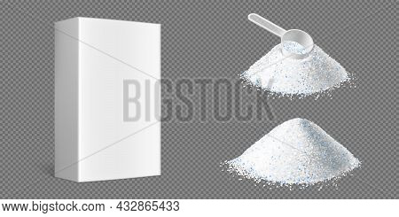 Washing Powder Piles With Measuring Scoop And White Box Isolated On Transparent Background. Vector R