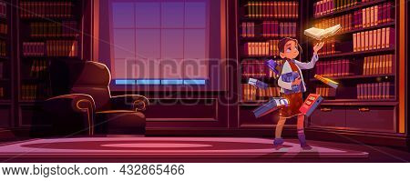 Girl With Flying Books With Magic Glow In Library At Night. Vector Cartoon Illustration Of Luxury Li