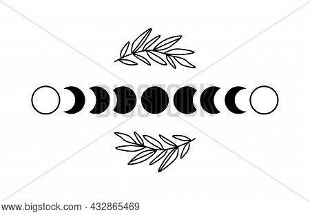 Floral Moon Phase. Black Moon Phase. Boho Luna Symbol. Shape Moon Cycle. Full Moon, Crescent Isolate