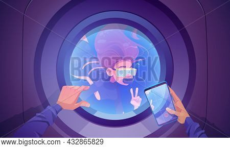 Underwater Travel, Woman Diver Wear Mask, Tube And Oxygen Balloon Look Inside Of Submarine Porthole
