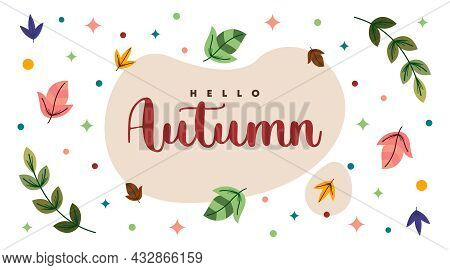 Hello Autumn Web Banner Background With Flat Element