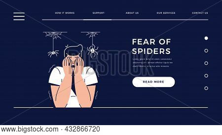 Fear Of Spiders, Arachnophobia Web Template. Scared Frightened Man Character With Hands On The Face