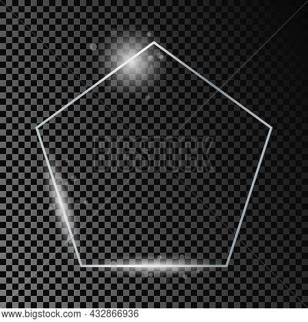 Silver Glowing Pentagon Shape Frame With Sparkles Isolated On Dark Transparent Background. Shiny Fra