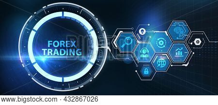 Forex Trading, New Business Concept.  Business, Technology, Internet And Network Concept. 3d Illustr