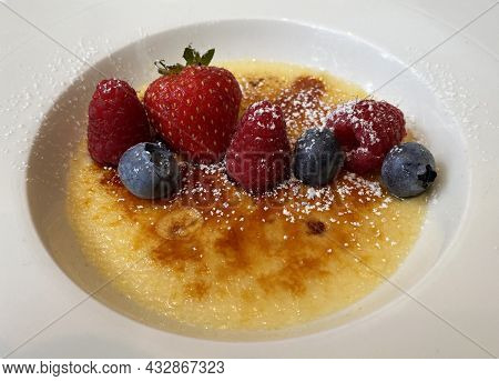Catalan Cream. Creme Brulee, Traditional Spanish Dessert.