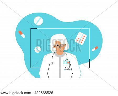 Vector Isolated Concept. Online Consultation And Diagnostic By Caucasian Elderly Physician. Video Ca