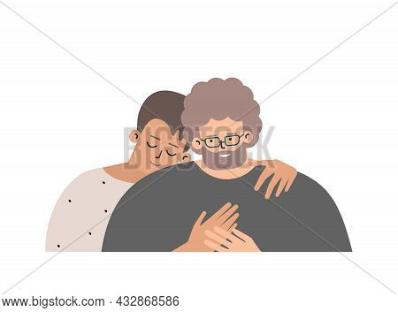 Vector Isolated Flat Portrait. Close Relations Of Son And Mature Father.  Caucasian Teenager Hugs Hi
