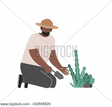 Vector Isolated Concept. African American Man Plants Flowers By Spatula. Smiling Farmer Care For Gre