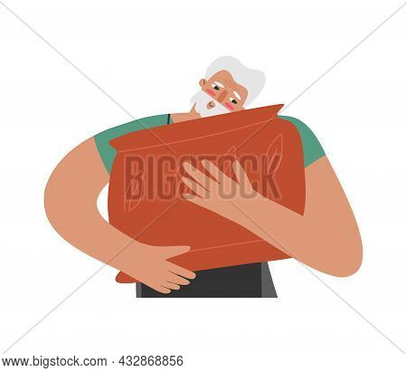 Vector Isolated Flat Illustration With Senior Caucasian Man. Close Up Portrait Of Old Student Who Hu