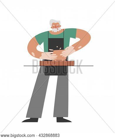 Vector Isolated Flat Illustration With Senior Caucasian Man Working At Pottery Wheel. Old Student Le