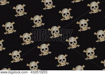 Halloween Pattern. Golden Skull With Rhinestones On Black Background. Happy Hallowen Holiday Concept
