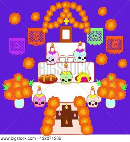Traditional Altar For The Day Of The Dead
