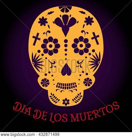Day Of The Dead Skull. Mexican Holiday Dia De Los Muertos Card, Banner. Paper Cut Out Skull.