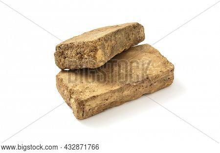 Mud brick on white background