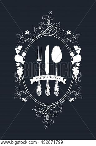 Vector Menu Decorated With A Beautiful Antique Cutlery And Floral Ornaments In Oval Frame With Fruit