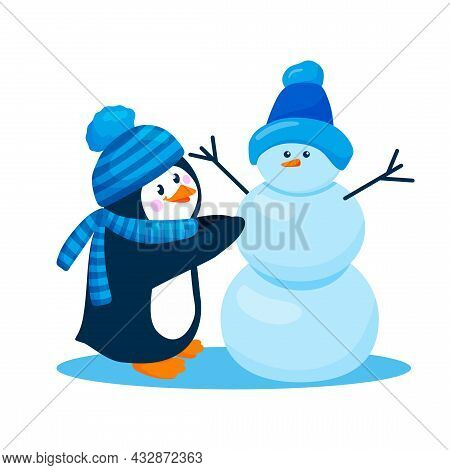 Penguin In A Hat And Scarfgoes Making Snowman. Cute Penguin On Snow Is Isolated On White Background.