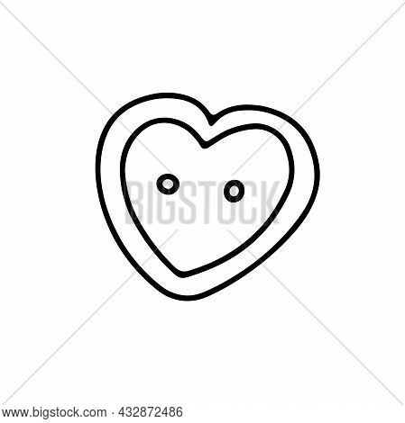 Vector Heart-shaped Button Isolated On White Background. Doodle Illustration For Weddings, T-shirts,