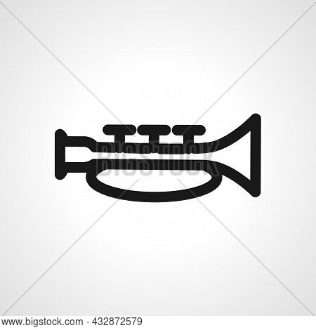 Music Trumpet Vector Line Icon. Trumpet Linear Outline Icon.