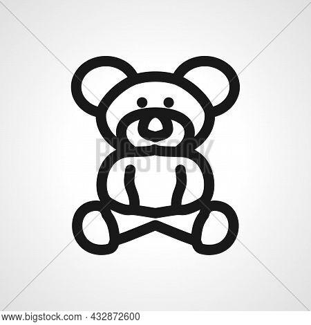 Teddy Bear Vector Line Icon. Teddy Bear Linear Outline Icon.