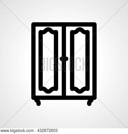 Wardrobe Vector Line Icon. Wardrobe Linear Outline Icon.