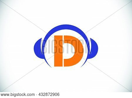 Initial D Monogram Alphabet With A Headphone. Headphone Logo. Music Sign Symbol. Font Emblem. Design