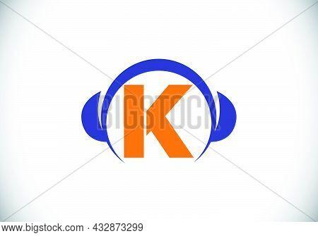 Initial K Monogram Alphabet With A Headphone. Headphone Logo. Music Sign Symbol. Font Emblem. Design