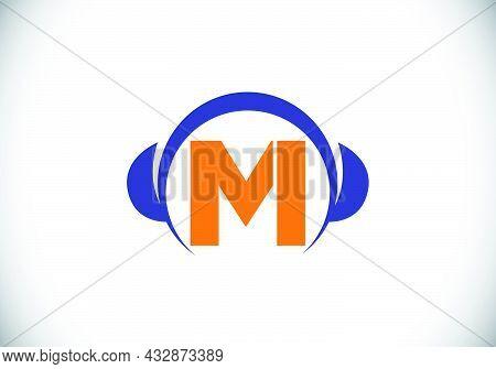 Initial M Monogram Alphabet With A Headphone. Headphone Logo. Music Sign Symbol. Font Emblem. Design