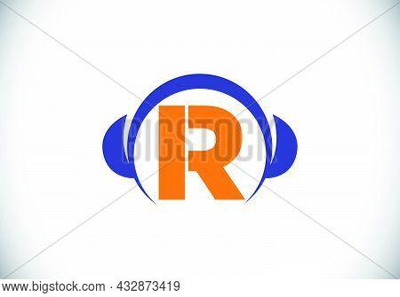 Initial R Monogram Alphabet With A Headphone. Headphone Logo. Music Sign Symbol. Font Emblem. Design