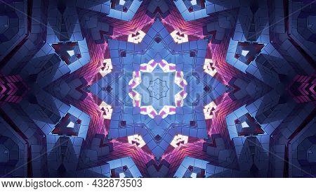 Kaleidoscopic Star Shaped Ornament 4k Uhd 3d Illustration