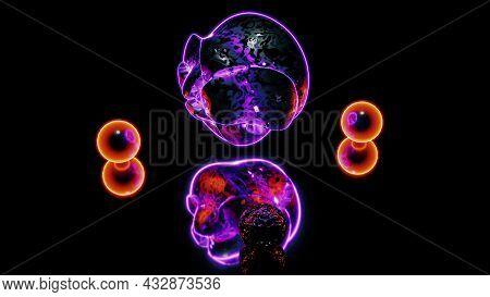 3d Illustration Of 4k Uhd Creative Neon Spheres