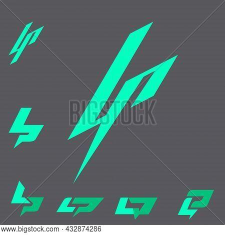 Lp Letter Based Lighning Shape Monogram Concepts Vector Format Scandinavian Style For Design Element