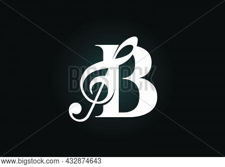 Initial B Monogram Alphabet With A Musical Note. Symphony Or Melody Signs. Musical Sign Symbol. Font