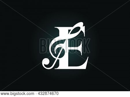 Initial E Monogram Alphabet With A Musical Note. Symphony Or Melody Signs. Musical Sign Symbol. Font