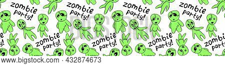 Vector Seamless Pattern With Cute Zombies In Cartoon Style. Outline Doodle Illustration Isolated. Zo