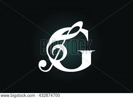 Initial G Monogram Alphabet With A Musical Note. Symphony Or Melody Signs. Musical Sign Symbol. Font