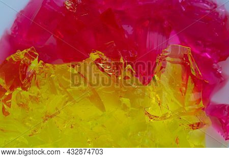 Jelly Background. A Bunch Of Red And Yellow Jelly Cubes.