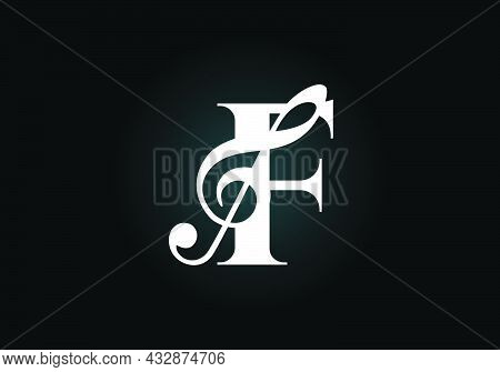 Initial F  Monogram Alphabet With A Musical Note. Symphony Or Melody Signs. Musical Sign Symbol. Fon