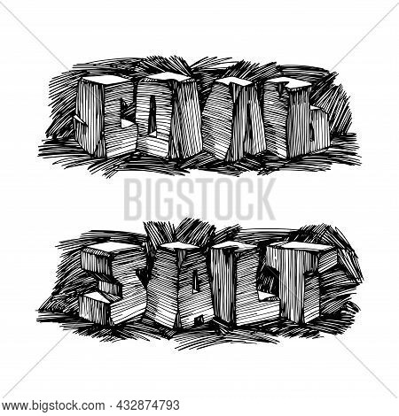 Word Salt, Cyrillic And Latin Letters, Mining Industry And Mineral Resources, Cooking Spice, Vector