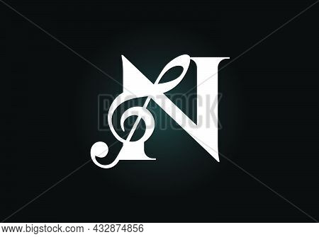 Initial N Monogram Alphabet With A Musical Note. Symphony Or Melody Signs. Musical Sign Symbol. Font