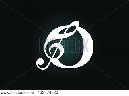 Initial O Monogram Alphabet With A Musical Note. Symphony Or Melody Signs. Musical Sign Symbol. Font