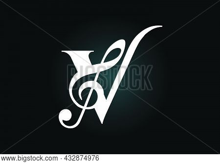 Initial V Monogram Alphabet With A Musical Note. Symphony Or Melody Signs. Musical Sign Symbol. Font