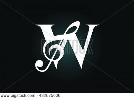 Initial W Monogram Alphabet With A Musical Note. Symphony Or Melody Signs. Musical Sign Symbol. Font