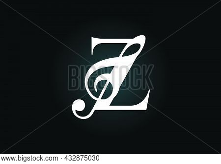 Initial Z Monogram Alphabet With A Musical Note. Symphony Or Melody Signs. Musical Sign Symbol. Font