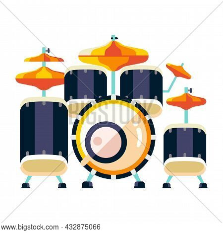 Percussion Rack System Drum Set Flat Icon