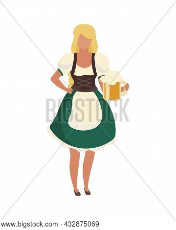 Waitress Wearing Traditional Bavarian Costume Semi Flat Color Vector Character. Full Body Person On