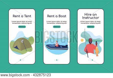 Learning To Fish Onboarding Mobile App Screen Flat Vector Template. Hobby Activity. Walkthrough Webs