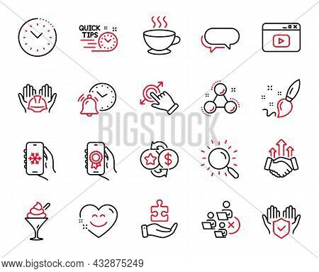 Vector Set Of Business Icons Related To Touchscreen Gesture, Smile Chat And Ice Cream Icons. Video C